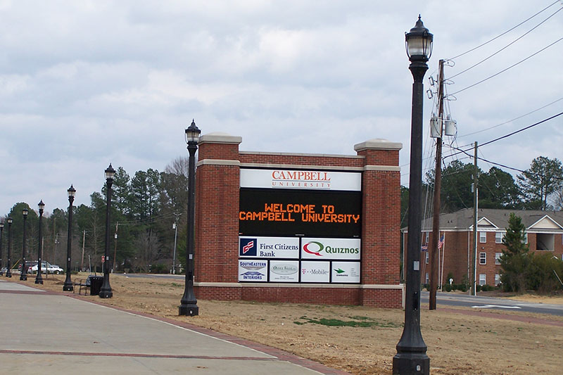 K445 Sol-Lux Installation Photo on The Belmont Prestressed Spun Concrete Pole at Campbell University
