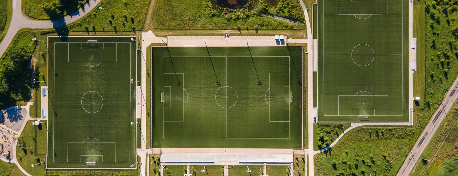 Aerial view of soccer fields with sports lighting